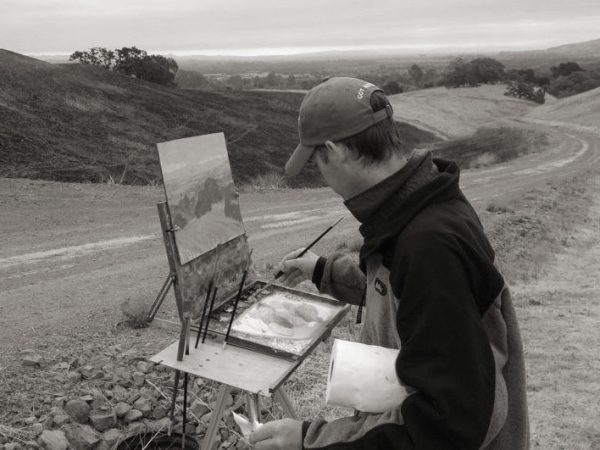Dan Schultz painting outdoors in Sonoma County, California