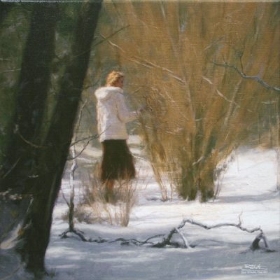 Blanket of Snow, giclee print by Dan Schultz. Young woman in a white coat outdoors in a snowy landscape.