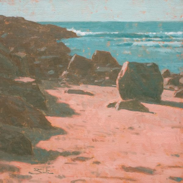 Breakwater • 12x12 inches • Oil on Linen Panel • Painted with M. Graham & Co. Azo Coral and Viridian plus Titanium White.