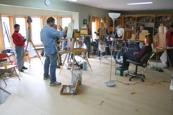 Dan Schultz Painting Workshop in Alberta, Canada. Working indoors with a model.
