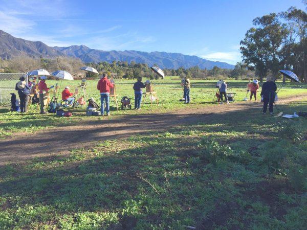 Dan Schultz's plein air painting class at the Ojai Meadows Preserve in Ojai, California.