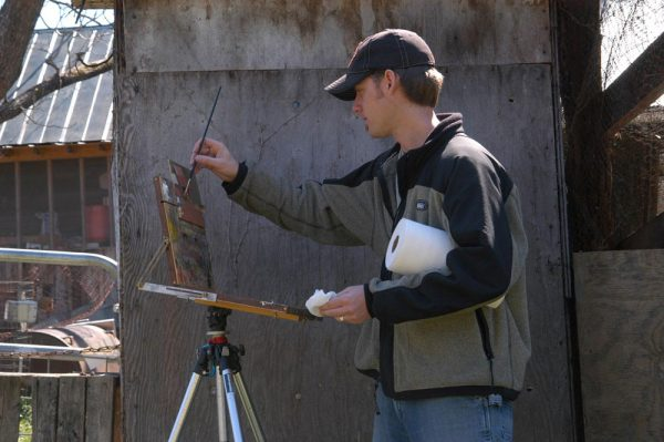 Dan Schultz Plein Air Painting in North Carolina. (Photo credit: Scott Burdick)