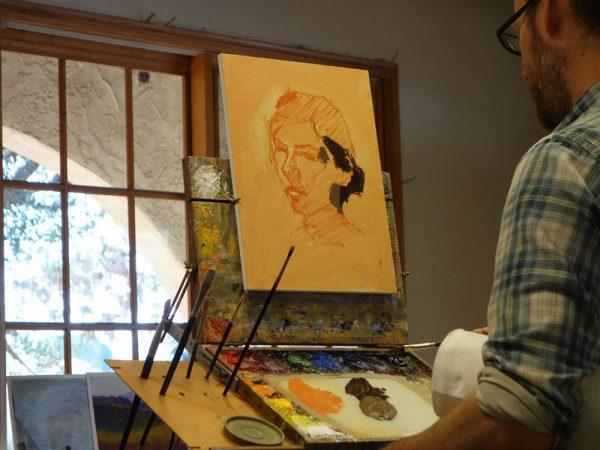 Dan Schultz portrait painting demonstration in progress (photo by Lynn Davis-Smith)