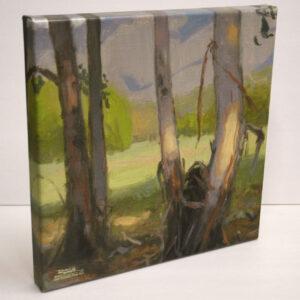 Eucalyptus Grove, giclee print by Dan Schultz. Eucalyptus trees near a meadow with a mountain backdrop.