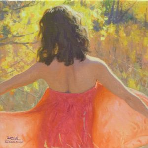 Expression, giclee print by Dan Schultz. Woman in a red dress in an Autumn field.