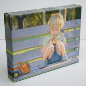 Favorite Trucks, giclee print by Dan Schultz. Young boy sitting on a park bench playing with toy trucks.