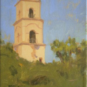 Ojai Icon, giclee print by Dan Schultz. Spanish-style Ojai tower rises above green trees under a blue sky.