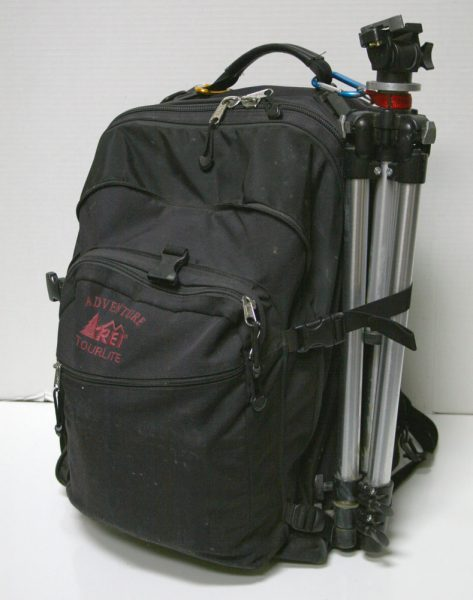 Backpack with Tripod Attached and Open Box M Pochade Box Inside