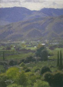 Quiet Valley, giclee print by Dan Schultz. Overlooking a lush, moody valley of green, blues and violet colors.