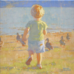 The Chase, giclee print by Dan Schultz. Young boy chasing ducks toward a rippling lake.