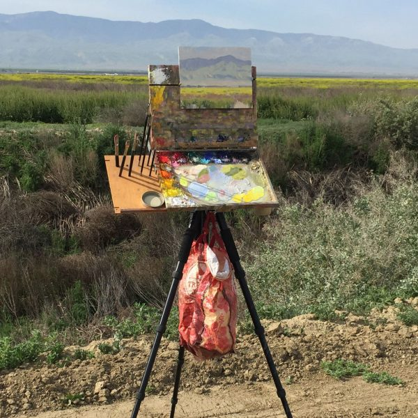 Dan Schultz's plein air painting easel on location in Kern County, California.