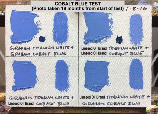 Cobalt Blue Oil Paint Test between M. Graham & Co. (walnut oil based) and a popular brand made with linseed oil, (photo taken 18 months from start of test)