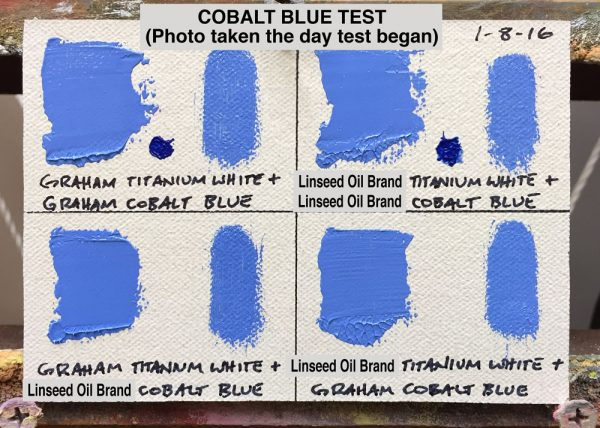 Cobalt Blue Oil Paint Test between M. Graham & Co. (walnut oil based) and a popular brand made with linseed oil, (photo taken the day test began)