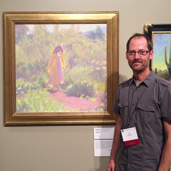 "Dan Schultz with his painting ""Wandering"" at the 2017 California Art Club Gold Medal Exhibition at the Autry Museum in Los Angeles, California"