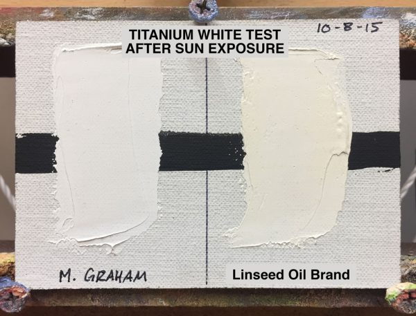 Titanium White Test 23 Days after Sun Exposure :: Left swatch: M. Graham & Co. (walnut oil based), Right swatch: Popular brand made with linseed oil, (21 months since start of test)