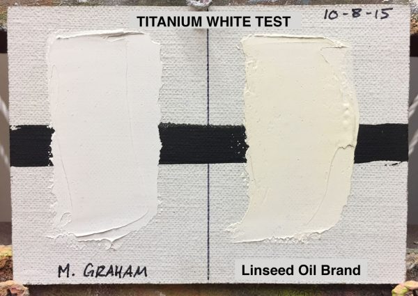 Titanium White Test :: Left swatch: M. Graham & Co. (walnut oil based), Right swatch: popular brand made with linseed oil, (results after 19 months)