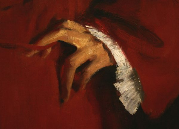 "Hand detail of ""Doctor Pozzi at Home"" (1881) by John Singer Sargent. His works provide excellent examples of how to avoid overworking."