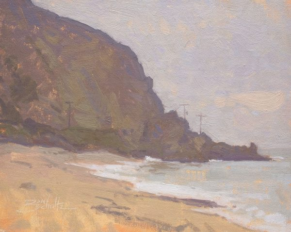 Malibu Coast •8x10 inches •Oil on Linen Panel •Available from Dan Schultz Fine Art Gallery in Ojai, California •This painting was exhibited in the On Location in Malibu show at the Frederick R. Weisman Museum in Malibu, California, May 19-June 29, 2018