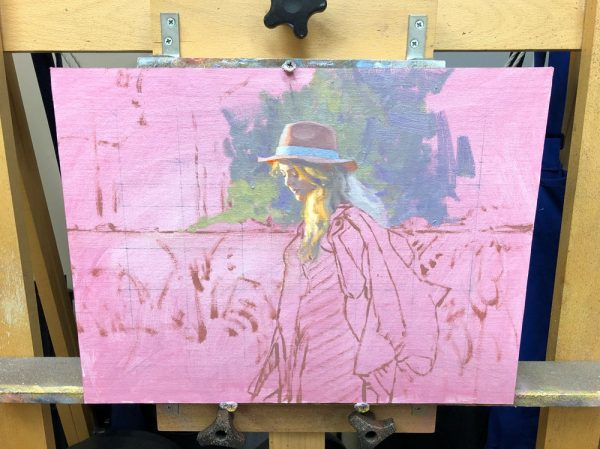 Painting in process showing my method of starting in one place and working outward.