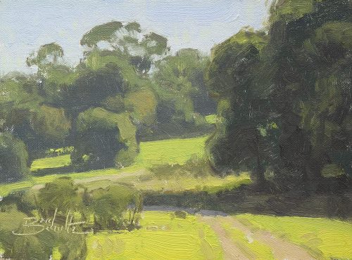 Spring Renewal, plein air oil painting by Dan Schultz. Springtime green grasses and a path lead into a lush landscape with trees.