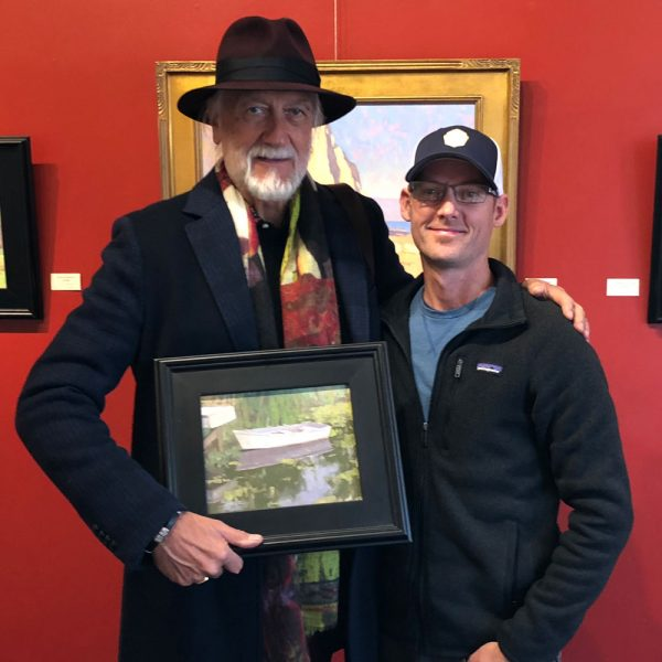 Mick Fleetwood purchasing a painting at Dan Schultz Fine Art Gallery & Studio in Ojai, California