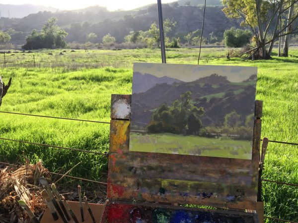 "Dan Schultz's late afternoon painting ""Ojai Valley Atmosphere"" on the easel. 9x12 inches, oil on linen panel."