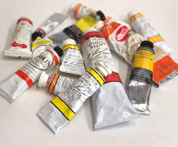 Cadmium oil paint tubes