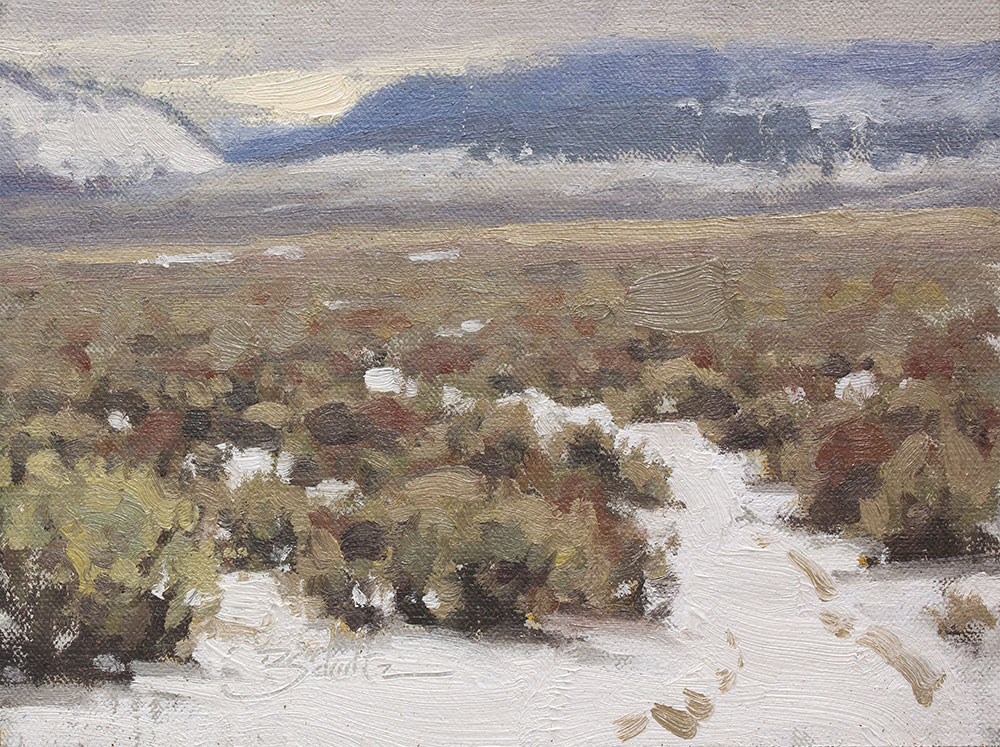Snowy Path • 6x8 inches • Oil on Linen Panel • Painted on location near Mono Lake, California