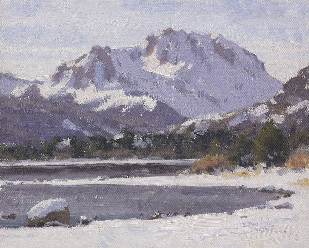 June Lake Snow • 8x10 inches • Oil on Linen Panel • Painted on location in June Lake, California