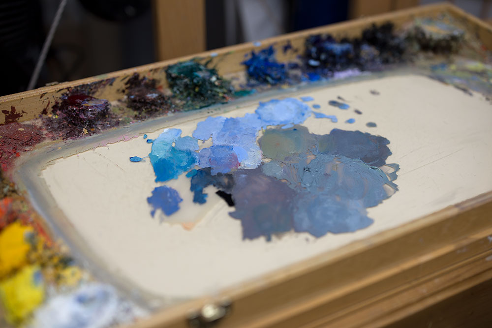 "Dan Schultz's paint mixtures on his palette for ""The Old Road"""