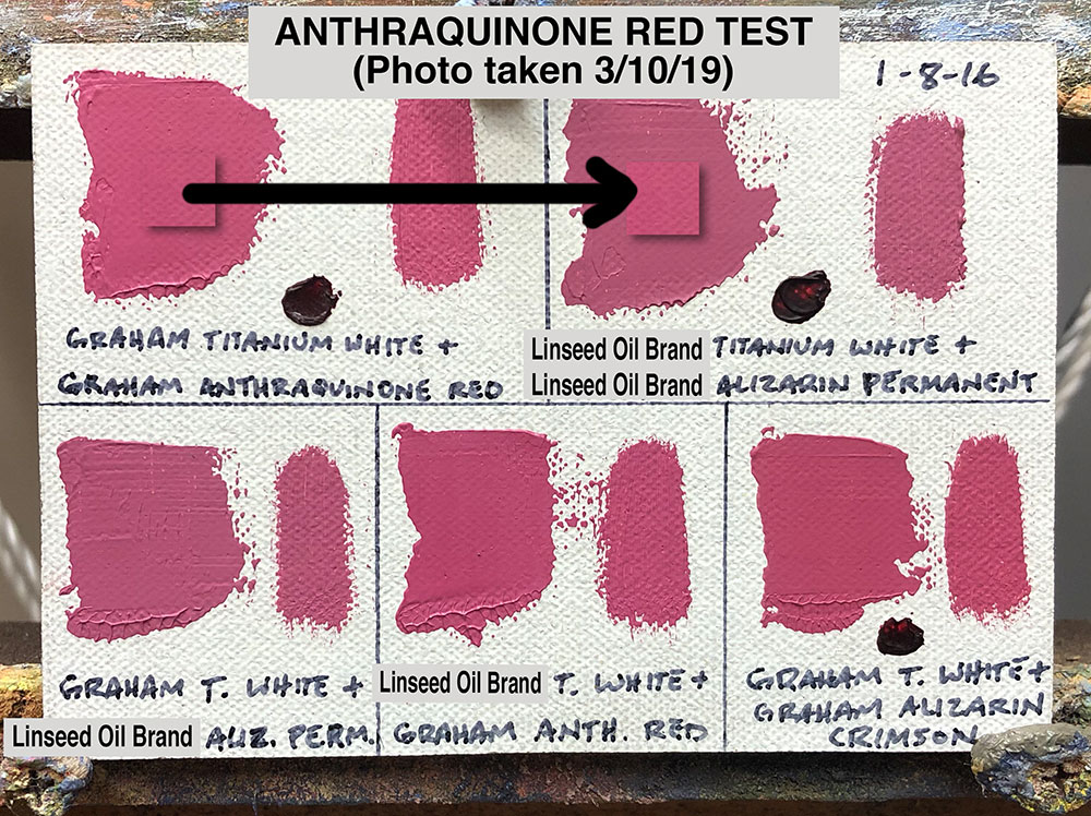 Anthraquinone Red Oil Paint Test between M. Graham & Co. (walnut oil based) and Alizarin Permanent from a popular brand made with linseed oil
