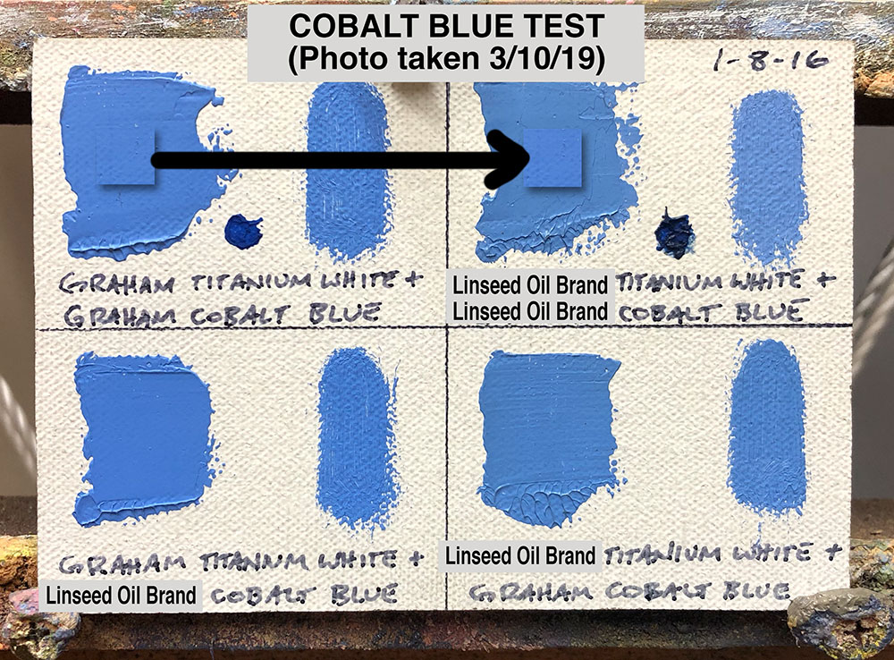 Cobalt Blue Oil Paint Test between M. Graham & Co. (walnut oil based) and a popular brand made with linseed oil