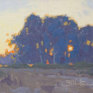 Eventide, 5x7 oil painting by Dan Schultz. Quiet evening light illuminates a silhouetted grove of Eucalyptus trees with the sun peeking through.