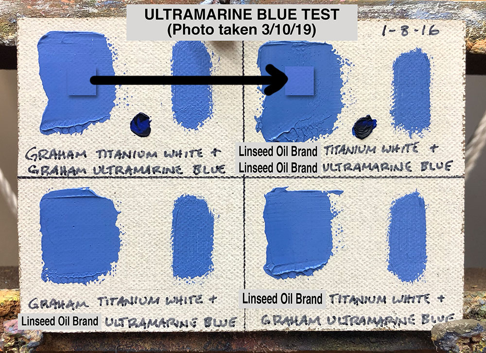 Ultramarine Blue Oil Paint Test between M. Graham & Co. (walnut oil based) and a popular brand made with linseed oil