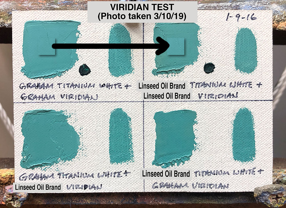 Viridian Oil Paint Test between M. Graham & Co. (walnut oil based) and a popular brand made with linseed oil
