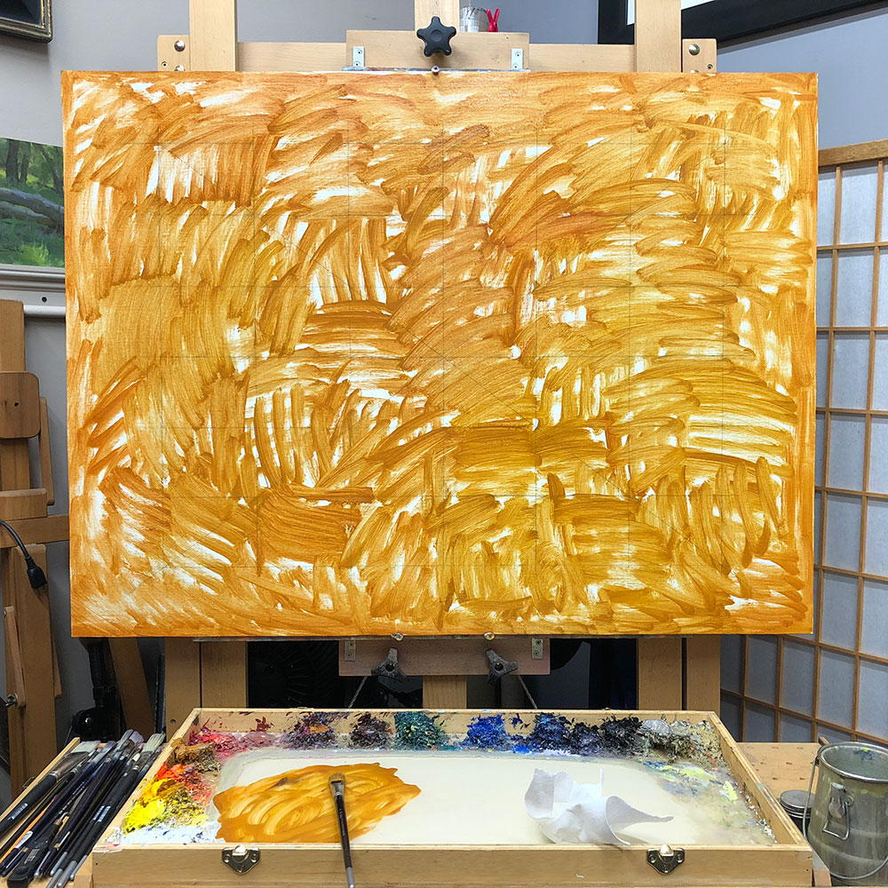 Underpainting Step 1: With a mixture of Yellow Ochre and odorless mineral spirits, I brushed the color all across the canvas using a bristle brush.