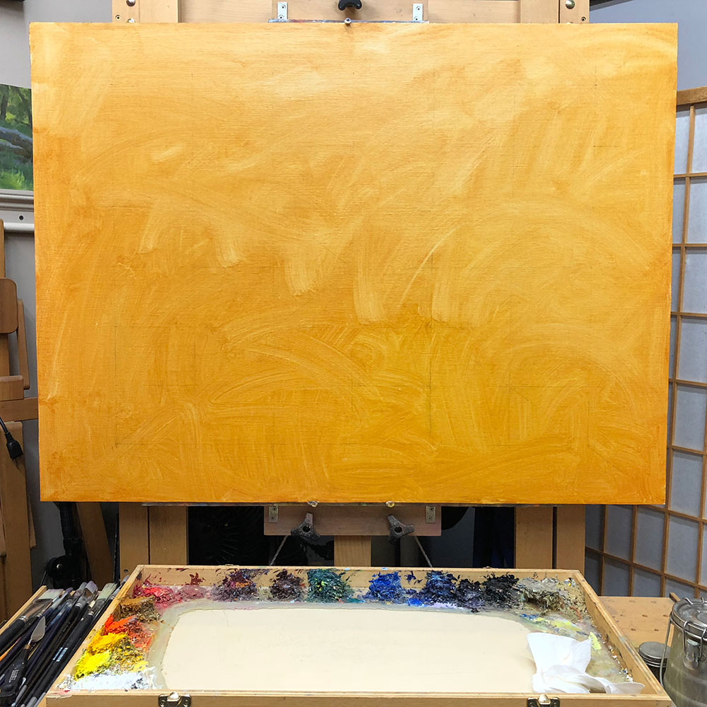 Underpainting Step 2: Using an absorbent paper towel, I lightly wiped the surface of the canvas to unify the color and remove excess wetness.