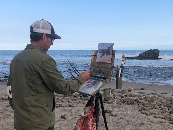 Dan Schultz painting in Malibu, California