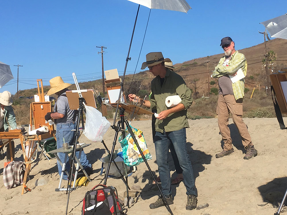Plein air painting workshop with Dan Schultz in Malibu, California. Photo by Nicole Ferrante.