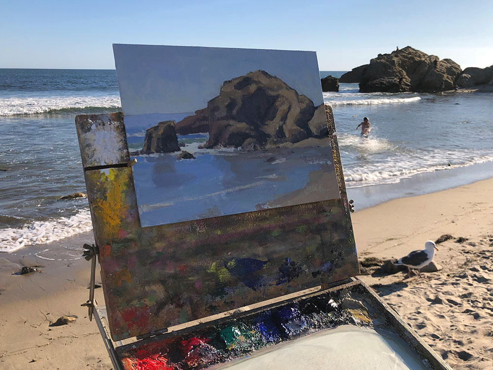 Malibu workshop plein air painting demonstration by Dan Schultz
