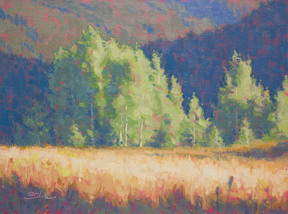 This is the painting I completed using the palette mixtures in the time lapse video. Backcountry Meadow • Oil on Linen Panel • 12x16 inches