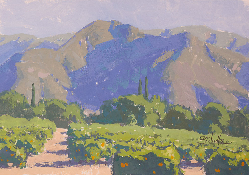 Ojai Landscape • 5x7 inches • Gouache on Paper • By Dan Schultz