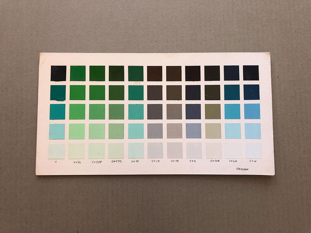Viridian Oil Paint Color Chart