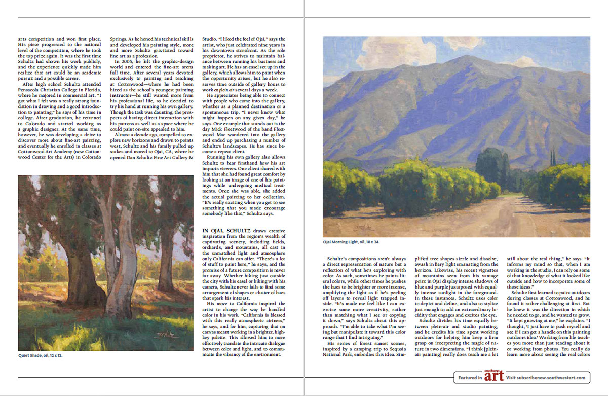 Feature article inside pages of Southwest Art Magazine, July, 2020 issue