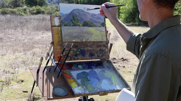 Plein air painting demonstration from Landscape Painting Fundamentals Course by Dan Schultz at SentientAcademy.com