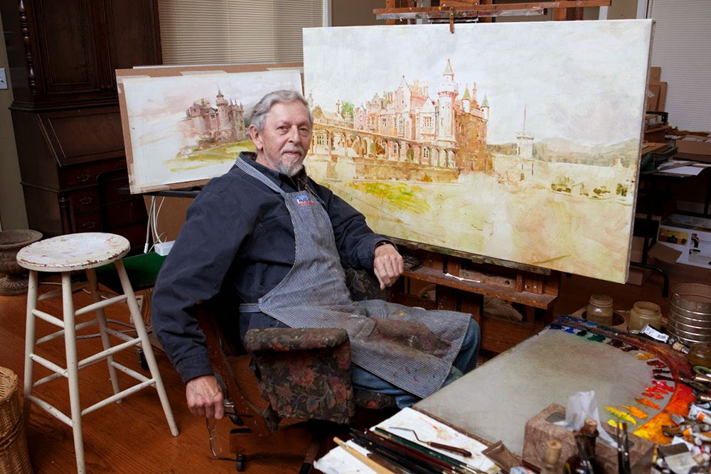 Richard Schmid in his studio