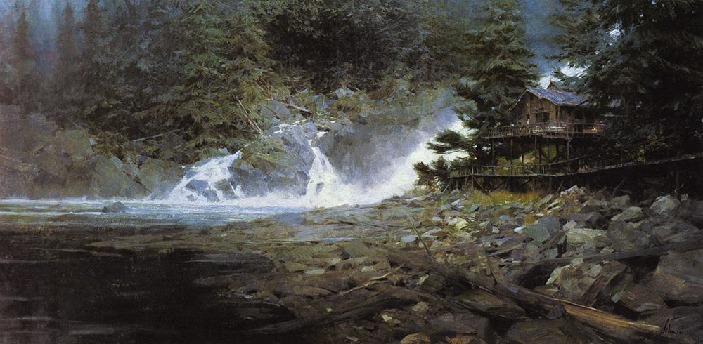 Baranof Falls, 24x48, by Richard Schmid