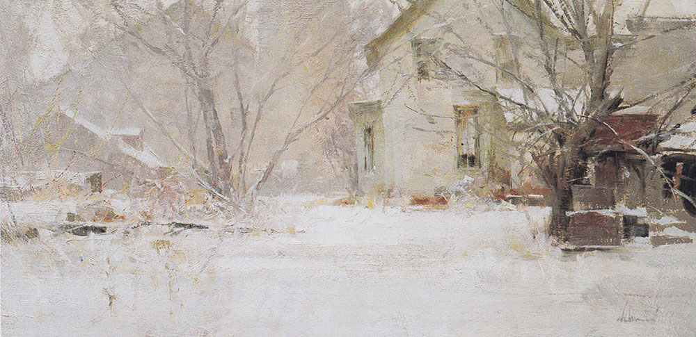 Kewaskum Snowfall, 9x18, by Richard Schmid