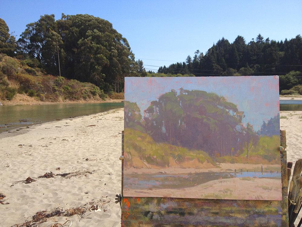 Caspar Creek • 11x14 inches • Oil on Linen Panel • High-Key Painting by Dan Schultz