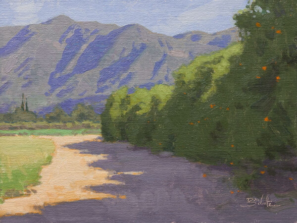 Edge of the Orchard •9x12 inches •Oil on Linen Panel • Available from Dan Schultz Fine Art in Ojai, California